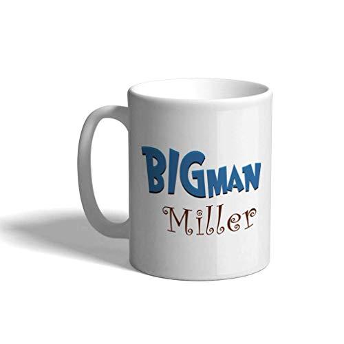 Taza de café personalizada de cerámica 11 onzas Bigman Kids Baby Big Brother Taza de té blanca para niño