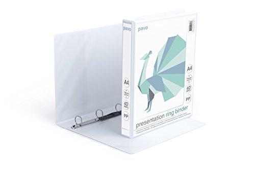 Pavo Premium Präsentations, Ringbuch 180 Panorama mit Taschen und 4 D-Mechanik, PP, DIN A4, 16 mm, weiß