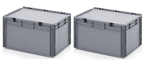 2x Eurobehälter 60 x 40 x 33,5 mit Scharnierdeckel inkl. gratis Zollstock 2er Set