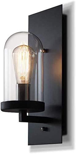 Luces de pared industriales, Lámpara de pared de loft rural Industrial Laboral de vidrio de hierro de hierro escono retro acabado negro E27 / E26 Fijo Metal Luz de pared 13.7 pulgadas con cableado Lám