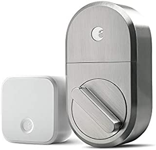 August Smart Lock + Connect Wi-Fi Bridge, Satin Nickel, Works with Alexa, Keyless Home Entry from Anywhere