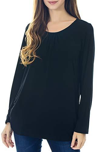 Smallshow Women's Maternity Nursing Tops Long Sleeve Modal Breastfeeding Shirts X-Large Black