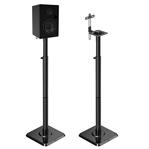 Mounting Dream Speaker Stands Height Adjustable Bookshelf Speaker Stand Pair for Universal Satellite Speakers, Set of 2 for Bose Polk JBL Sony Yamaha - 11 lbs Capacity