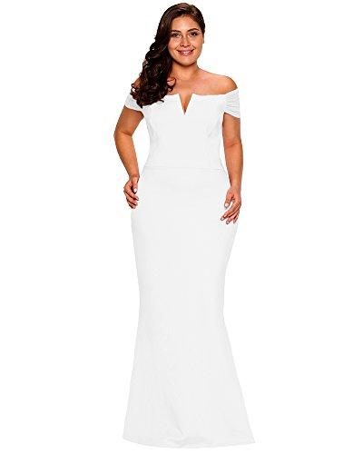 LALAGEN Women's Plus Size Off Shoulder Long Formal Party Dress Evening Gown Size XXXL White
