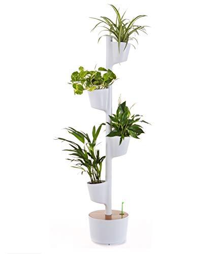 Citysens - Macetero Vertical con Autorriego Inteligente, Blanco, 4 Macetas