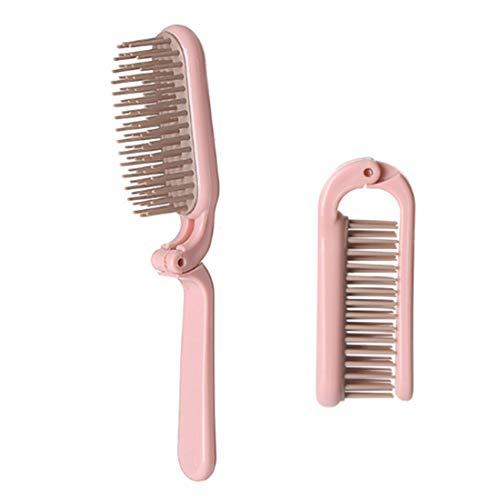 Produits de Soins capillaires ABS Pliant Portable Poignée de Maquillage Peigne, Longueur: 18cm (Rose) (Color : Pink)