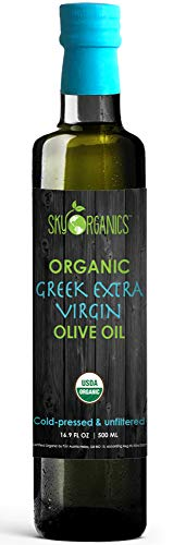 Sky Organics USDA Organic Extra Virgin Olive Oil- 100% Pure Greek Cold Pressed Unfiltered Non-GMO EVOO- For Cooking Baking - Hair & Skin Moisturizing, 16.9 oz