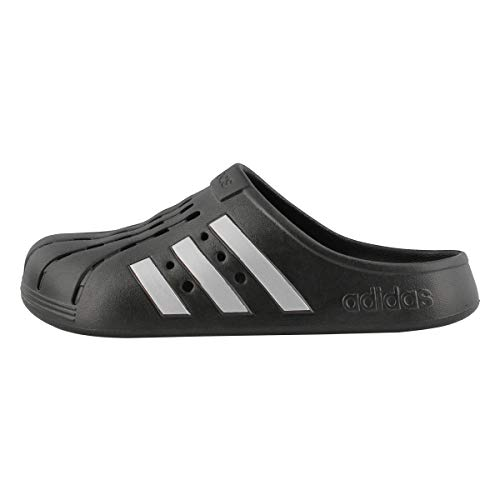 adidas Unisex Adilette Clog Slide Sandal, Black/Silver Metallic/Black, 7 US Men