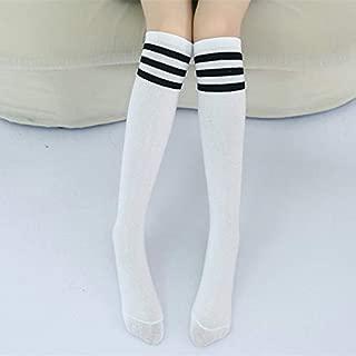 Socks High Knee Socks Stripes Cotton Sports School Skate Long Socks for Kids(White+Black Strip) Outdoor & Sports (Color : White+Black Strip)