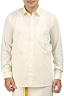 RIRO Focus Men's Plain Silk Cotton Traditional/Ceremony/Formal Full Sleeve Shirt,Cream