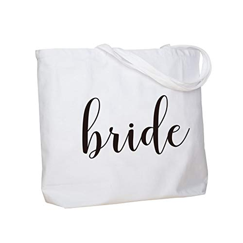 ElegantPark Bride Jumbo Tote Bag Wedding Bridal Shower Gifts Canvas 100% Cotton Interior Pocket White with Black Script