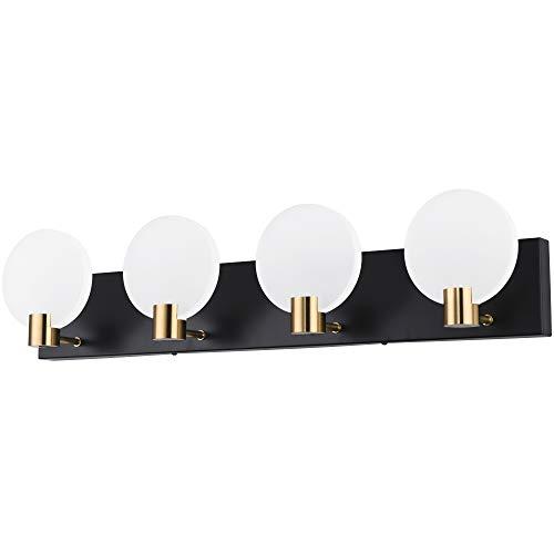 PRESDE Black LED Bathroom Vanity Light Fixtures Over Mirror for Bath Modern 4 Light Wall Lights Acrylic