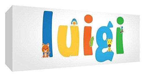 Little Helper LHV-LUIGI-1542-15IT Toile pour Nursery avec panneau frontal, motif personnalisable avec nom des garçons Luigi, multicolore, 15 x 42 x 4 cm