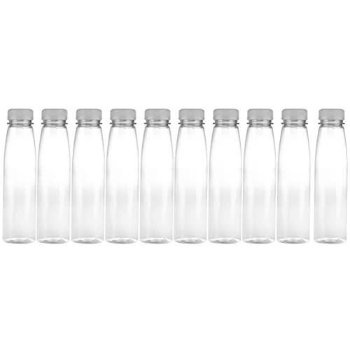 PIXNOR 10 Botellas de Bebidas de 330ML Botellas de Agua Vacías Botellas de Plástico para Bebidas con Tapas para Interiores Y Exteriores (Tapas de Colores Aleatorios)