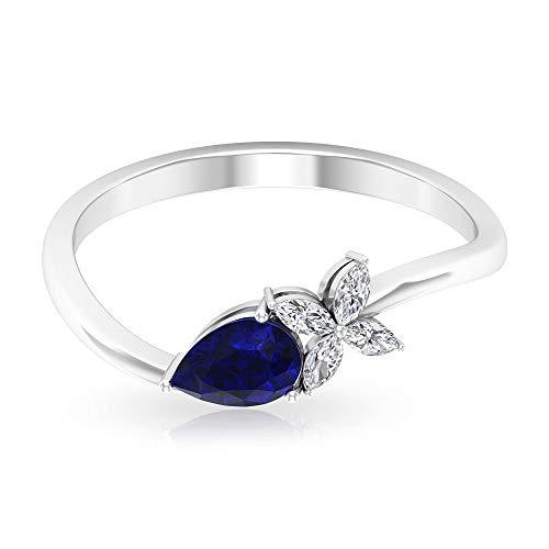 Anillo de oro de pétalos de zafiro azul con forma de pera de 0,5 ct, 0,10 ct SGL certificado de diamante anillo de gemas, IJ-SI claridad de color diamante anillo de novia, 14K Oro rosa, Size:EU 45