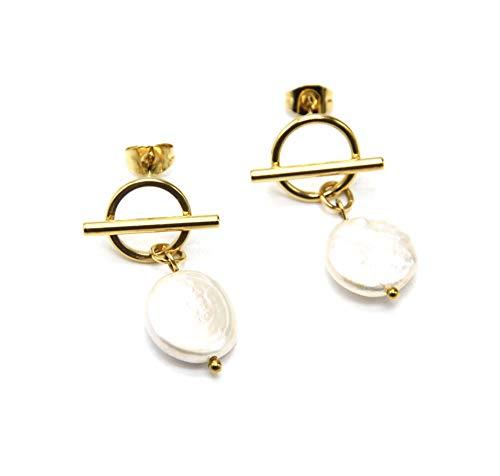 BO1929 – Pendientes de aro y barra de acero dorado con perla de agua dulce.