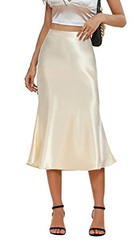 Alcea Rosea Falda larga para mujer, cintura alta, básica, falda de satén sedosa, falda de lápiz, falda de fiesta, corte de verano, tallas S-XXXL champán S