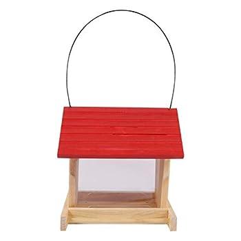 Balacoo en Plein Air Automatique Mangeoire à Oiseaux Perroquets Bois Chargeur avec Toit Jardin Sauvage Décor Perroquet D' Alimentation Mangeoires Cage Accessoires pour Perruche Canaries