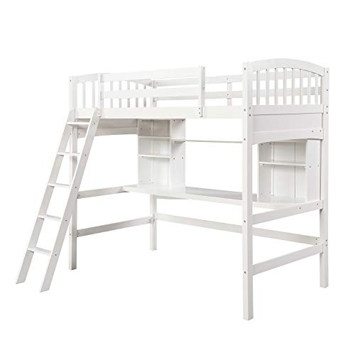 Wooden Twin Loft Bed with Stairs for Teens,Modern Solid Wood High Bed Frame with Desk and Safety Guardrails,8 Wood Slat Suppor,Max Load 175 Lbs,Us Stocks (Color : White)