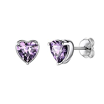 Hadskiss Small Heart Birthstone Stud Earrings for Women Girls 925 Sterling Silver Studs Earrings Hypoallergenic 6mm Purple Sleeper Cartilage Studs Gift for Birthday Christmas Come with Jewelry Box