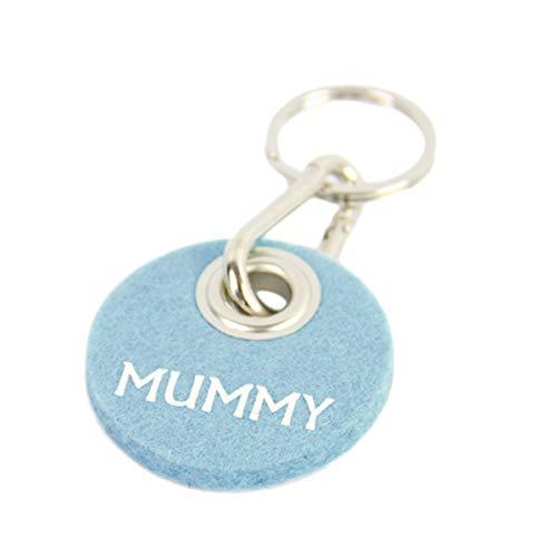 Schlüsselanhänger Filz Blau, Geschenk für Frauen, Filzanhänger mit Spruch Mummy, Karabiner aus Metall