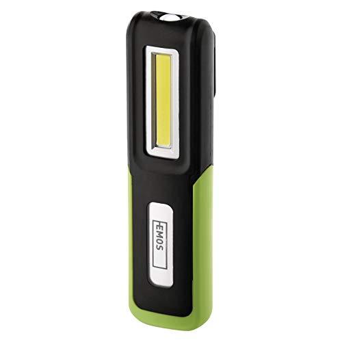 EMOS P4530 LED-Arbeitsleuchte, aufladbare Werkstattlampe mit knickbarem Haltefuß, Haken und Magnet, 175 lm, 30 m Leuchtweite, 1200 mAh Akku mit 8 St. Leuchtdauer und USB-Kabel, 3 Lichtmodi