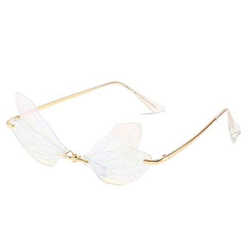 EVAGNEE Gafas de sol Dragonfly Wings para mujer, estilo vintage, diseño de libélula, steampunk para hombre, sin marco, gafas de sol irregulares, para fiesta, color blanco transparente