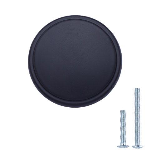 Amazon Basics - Pomo de armario, con diseño de aro superior, moderno, ancho, 3,85 cm de diámetro, negro liso - paquete de 10