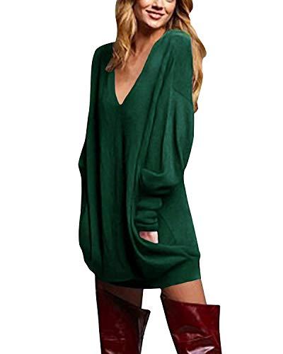 ZANZEA Jerseys de Punto Mujer Largos Cuello V Manga Larga Otoño Vestidos Sudadera Casual Tallas Grandes Suéter Suelta Verde L