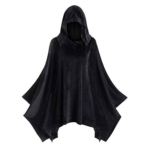 LOPILY Umhang Kleid mit Kapuze Vintage Wasserfall Samtumhang Cape Vampir Kostüm Halloween Damen Cosplay Umhang Prop für Halloween Masquerade Mittelalter Bekleidung Karneval Kostüme (Schwarz, 42)