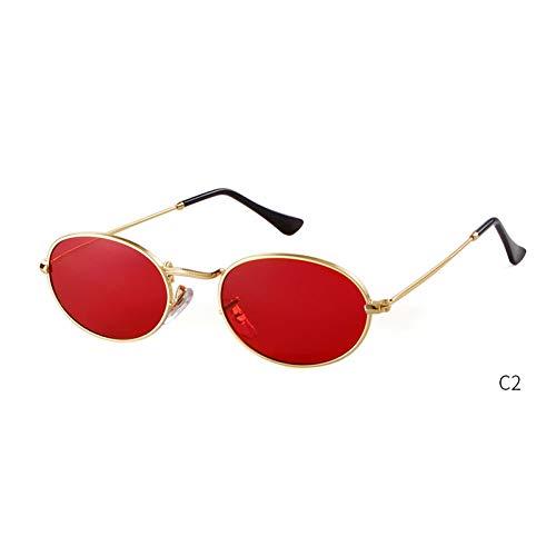 ZRTYJ Gafas de Sol Pequeñas Gafas de Sol ovaladas Hombres Mujeres Vintage Retro Diseñador de la Marca Rosa Lente Roja Gafas de Sol Gafas de Sol Planas