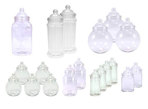 JARROS PLÁSTICOS. Paquete DE 19 DE PLÁSTICO Transparente DE frascos vacíos tamaños Surtidos con decoración de Estilo Victoriano Tapas de Britten y James®.