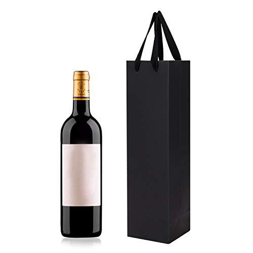 10Pcs Sacs pour Bouteille de Vin Champagne Poche Bouteille Cadeau Papier Kraft Pochette à Vin Sac Bouteille de Vin Double Sac Fourre-tout avec Poignée pour Noël Anniversaire Mariage Fête Célébration
