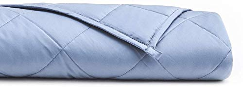 YnM Bamboo Weighted Blanket — 100% Natural Bamboo Viscose Oeko-Tex Certified Material with Premium Glass Beads (Purple, 48''x72'' 15lbs), Suit for One Person(~140lb) Use on Twin/Full Bed