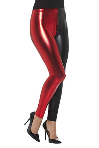 Smiffys Damen Metallic Narr Cosplay Leggings, Größe: 36-38, Blau und Rot, 48108