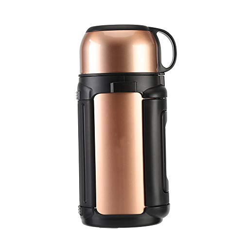 Mokfles Stainless Steel Car thermosfles, 1.2l grote capaciteit Coffee Cup-uitschuifbaar handvat, Outdoor Travel Thermos (2 kleuren) Volwassenen (Color : Gold, Size : 268x122mm)