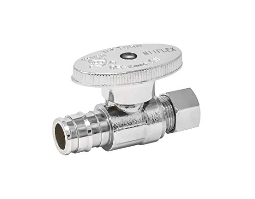 MIIFLEX 1/2 inch PEX(Inlet) x 3/8 inch OD(Outlet) Lead Free 1/4 Turn PEX A Straight Stop Valve, Expansion F1960 x Compression, (Pack of 10 pcs, click in for more size options), 1/2'' PEX x 3/8'' OD