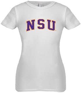 CollegeFanGear Northwestern State Next Level Girls White Fashion Fit T Shirt 'Arched NSU'