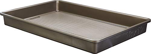 Goodcook 5512 Aluminized Steel, Diamond-Infused Non-Stick Coated Textured Bakeware, 18x12x2 Oblong, champagne pewter