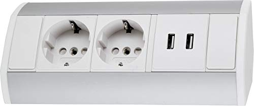 Opbouw aluminium stekkerdoos 2-voudig + 2x USB-laadbus - horizontaal + verticaal - 230 V 3680 W - wit-zilver