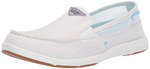 Columbia PFG Women's Delray II Slip PFG Boat Shoe, White, Coastal Blue, 8 Regular US