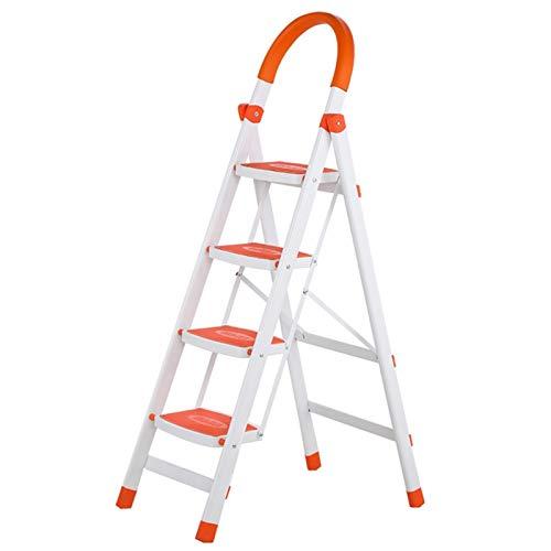 WHOJA Escalerilla 4 escaleras de Seguridad de Acero de Servicio Pesado con Banda de Rodadura Antideslizante Plegable Portátil para Cocina hogar jardín Oficina Ligera y Resistente (Color : Orange)