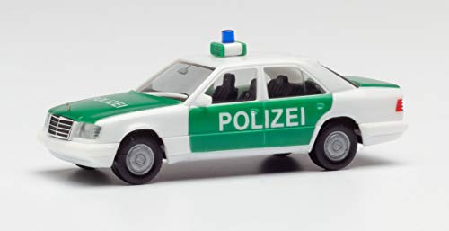 herpa 94122 – Polizei Fahrzeug Oldtimer, Mercedes Benz E-Klasse, Modell Polizeiauto, Cars, Miniaturmodelle, Sammeln, Sammlerstück, Kunststoff - Maßstab 1:87