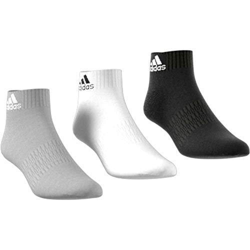 adidas Unisex Cush Ank 3pp Socks, medium grey heather/White/Black, KM EU