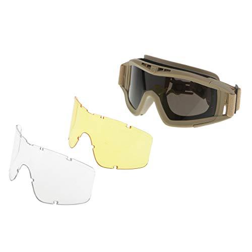 Homyl Fast Taktische Goggle Brille Für Helm Mit 3-Objektiv-Jagd - Bräunen