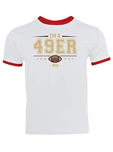 49er American Football 1946 Any Given Sunday Forty-Niners San Francisco Ringer T-Shirt Herren Trikot, Größe:XL, Farbe:Weiß Rot (White Red F159)