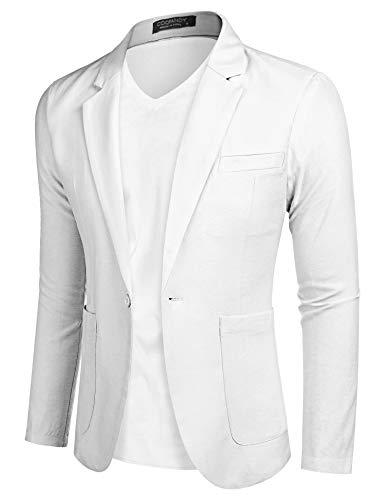 COOFANDY Herren Sakkos Polyester klassisch Reverskragen Blazer Jackett Anzug Slim Fit bequem