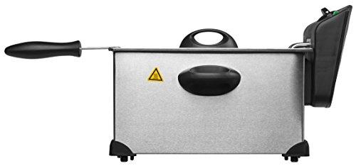 MEDION MD 18084 Fritteuse (2.000 Watt, 3L Ölbehälter, hochwertiges Edelstahlgehäuse, Temperatureinstellung bis 190° C) silber