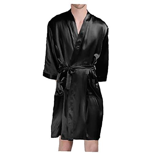 Runfon Bata Hombre Seda Artificial Albornoces Verano de Manga Larga Homewear Negro S