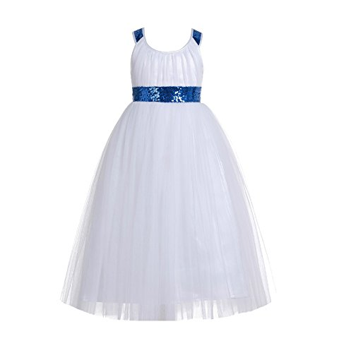 ekidsbridal Sweetheart Neckline Cross Straps A-Line Toddler Flower Girl Dresses 173 4 Royal Blue/White